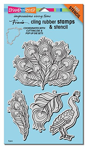 Up Halloween Cards Pop Homemade (Stampendous CRS5099 Cling Rubber Stamp Set Poised Peacock)