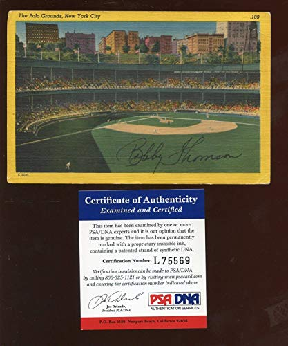 Bobby Thomson Polo Grounds Postcard Autographed PSA Cert - MLB Cut Signatures from Sports Memorabilia