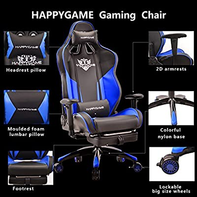 HAPPYGAME High-back Large Size Gaming Chair with Footrest Computer Swivel Office Chair(Blue)-OS7702 by HAPPYGAME