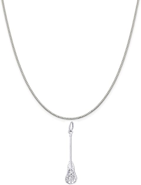 Rembrandt Sterling Silver Lacrosse Charm on a Sterling Silver Rope Chain Necklace