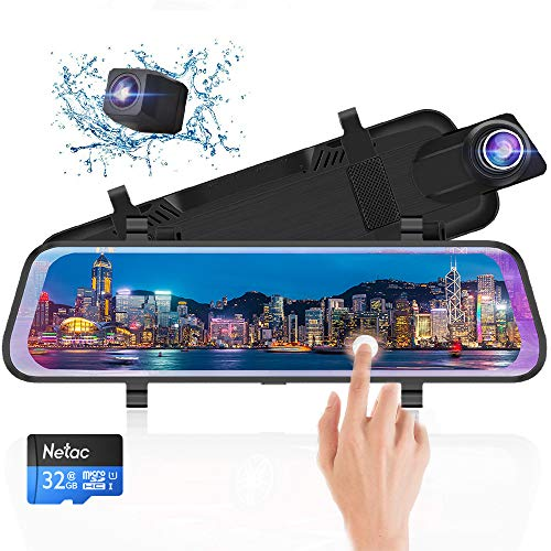 10 Inch Mirror Dash Cam Full Touch Screen, Poaeaon Backup Camera Stream Media, 1080P 170° Front and 1080P 150° Wide Angle Full HD Rear View Camera with G-Sensor, Night Vision (Free 32GB SD Card)