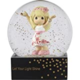 Precious Moments 185082 Girl in Floral Skirt Let Your Light Shine Resin/Glass Waterball with Gold Glitter, One Size, Multicolor