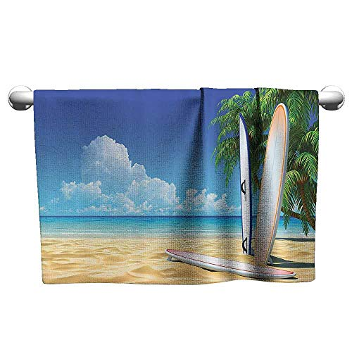 duommhome Tropical Quick Dry Towel Surf Board on The Sand by Ocean Sea Idyllic Serene Coast Paradise Image W12 x L35 Royal Blue Sand Brown