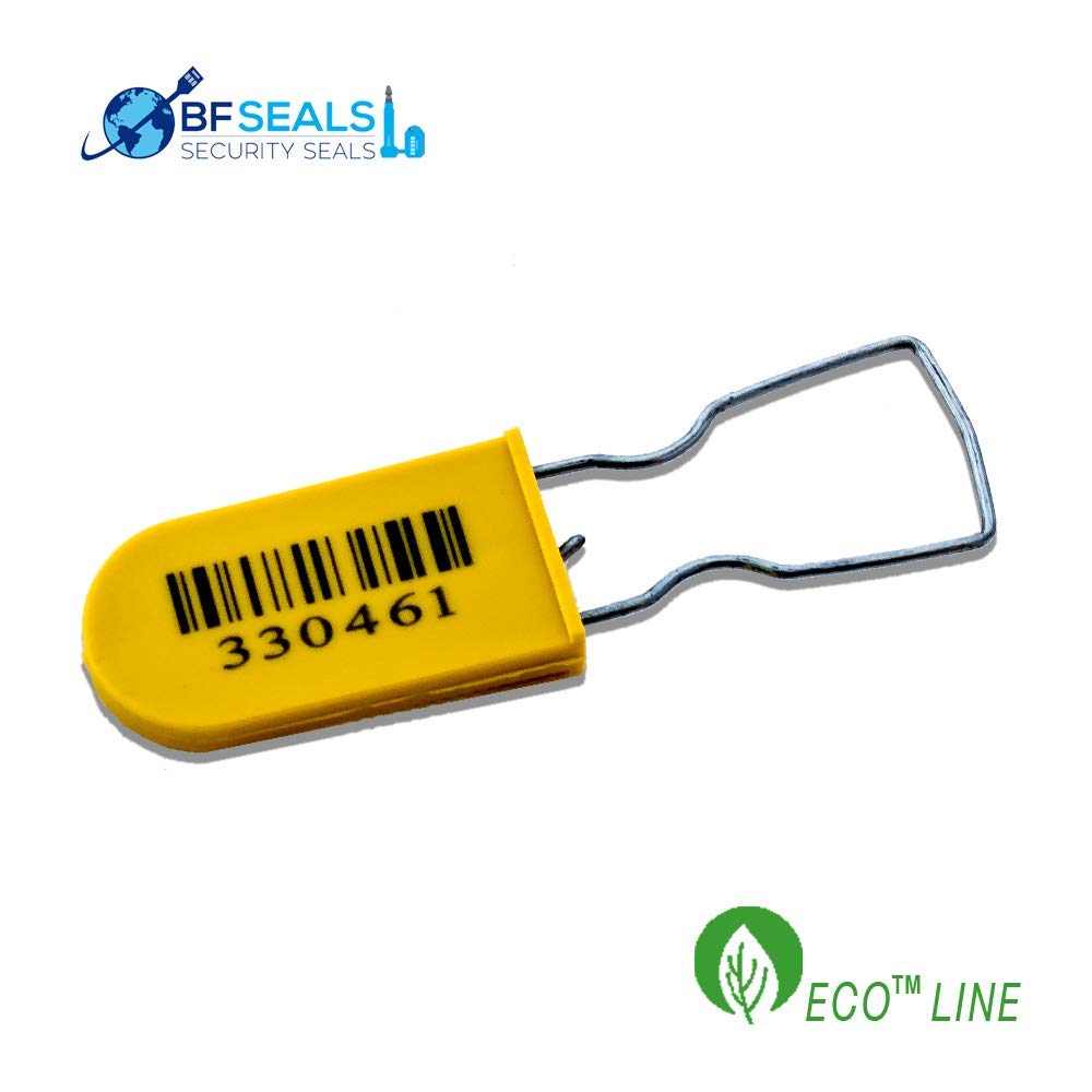 ECO-Plastic Padlock A Security Seal with Metal Wire, Numbered and Barcode, Yellow Color, 100 pcs. by BFSEALS