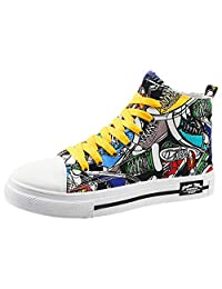 yoyoiop Fashion Men's Canvas Breathable Comfortable High-Top Casual Shoes Outdoor Shoes