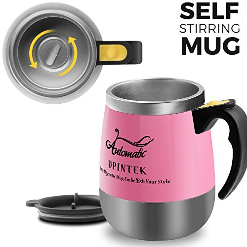 Upintek Self Stirring Coffee Mug Travel Coffee Mug Electric Stir Stainless Steel Automatic Self Mixing Cup for Tea Milk Vortex Mixer Blender Mug 450ml/15.2oz Pink