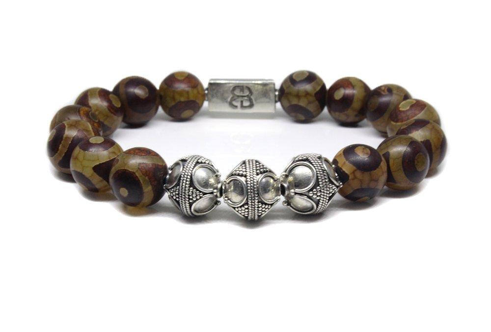 Men's Tibetan Agate Bracelet, Tibetan Agate and Sterling Silver Bead Bracelet, Men's Designer Bracelet