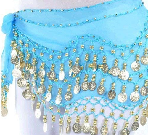 VISKEY Belly Dance Hip Skirt Scarf Wrap Belt Costume with Rows Gold Coins (Blue) ()