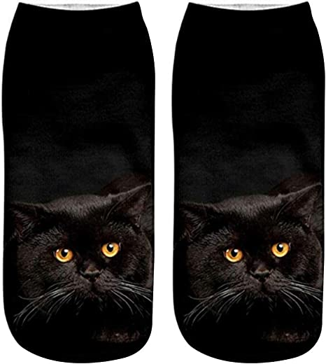 Jingyuu Calcetines de Estampado Gato Hombre/Mujer, – Calcetines ...