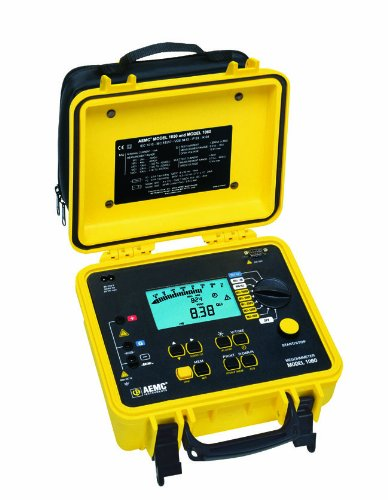 AEMC 1060 Digital Megohmmeter with RS-232 Output, 50/100/250/500/1,000V, 4,000 Gigaohms Insulation Resistance, 400 Kilohms Low-Resistance, 5 Microfarads Capacitance, 1,000V Voltage (Tester 232 Rs)