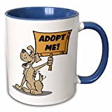 Dooni Designs Retro Style Cartoons - Retro Style Cartoon Dog Holding Adopt Me Sign Pet Adoption Cartoon - 11oz Two-Tone Blue Mug (mug_117503_6)