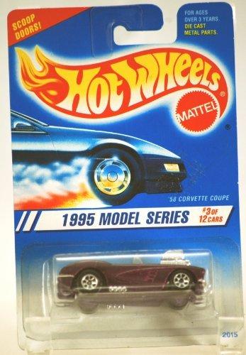 Hot Wheels 1995-3 of 12 PURPLE '58 Corvette Coupe Model Series 1:64 Scale