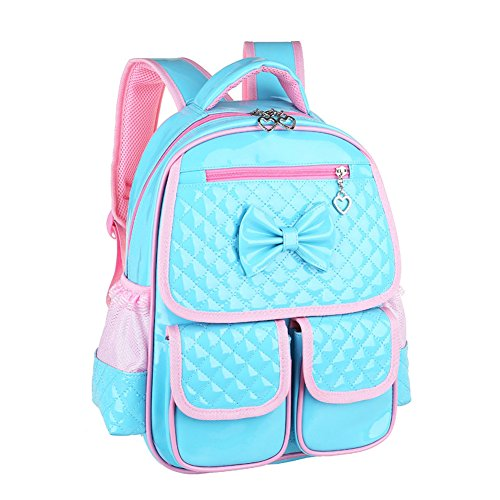 Kuanlise Bowknot Leather Backpack for School Personalized Girls Book Bags (Personalized Girl Backpacks)
