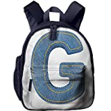Haixia Teen's Boy's&Girl's Bookbag with Pocket Letter G Modern Denim Font Typeset Character Jeans Cloth with Stitches Uppercase Print Decorative Blue Yellow