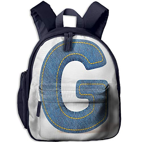 Haixia Teen's Boy's&Girl's Bookbag with Pocket Letter G Modern Denim Font Typeset Character Jeans Cloth with Stitches Uppercase Print Decorative Blue Yellow by Haixia