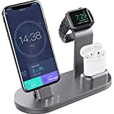 OLEBR Charging Stand Charging Docks Suitable for Apple Watch Series 4/3/2/1/ AirPods/iPhone Xs/iPhone Xs Max/iPhone XR/X/8/8Plus/7/7 Plus /6S /6S Plus/iPad-Space Gray