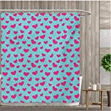 Hot Pink Polka Dot Shower Curtain smallfly Pop Art Fabric Bathroom Decor Set with Hooks Retro 50s 58s Style Image with Hearts Abstract Polka Dots Art Print Shower Curtains Waterproof 54