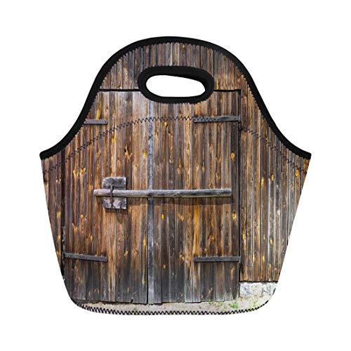 Semtomn Lunch Tote Bag Brown Aged Wooden Barn Door Huge Metal Plank Wall Reusable Neoprene Insulated Thermal Outdoor Picnic Lunchbox for Men ()