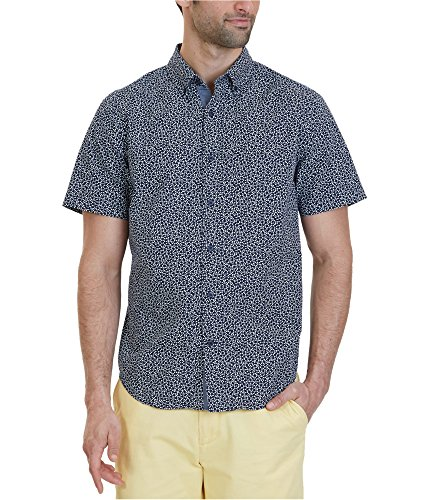 Nautica Men's Short Sleeve Classic Fit Printed Button Down Shirt, Maritime Navy, XX-Large