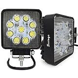 Safego 27W LED Flood Work Light Lamp 12V 24V OffRoad High Power for Truck 4X4 ATV Tractor 60 Degree 27WS-FL Pack of 2