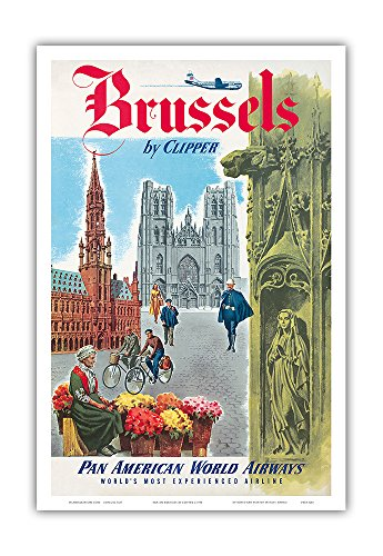 Brussels, Belgium by Clipper - Pan American World Airways (PAA) - The Cathedral of Saints Michel and Gudule - Vintage Airline Travel Poster c.1951 - Master Art Print - 12in x 18in