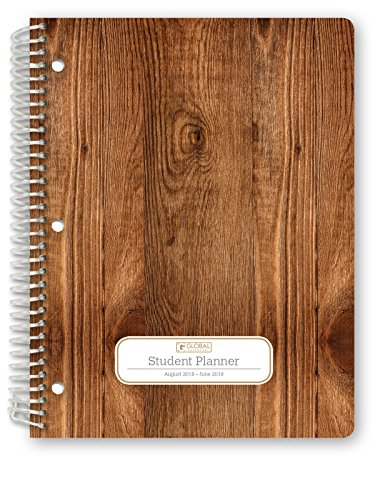 Hardcover Dated Middle School Or High School Student Planner for Academic Year 2018-2019 (Matrix Style - 8.5''x11'' - Woodgrain Cover) - Bonus Ruler/Bookmark and Planning Stickers by Global Datebooks (Image #1)'