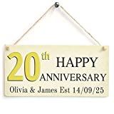20th Happy Anniversary Custom Your name And Date Wood Sign By meijiafei