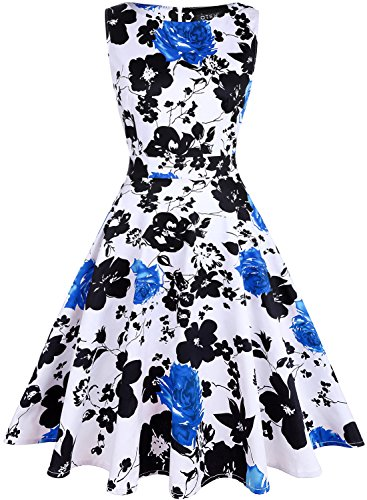 OTEN Women's Vintage Tea Dress Sleeveless Floral 1950s Cocktail Dressing, Medium, White+Blue ()