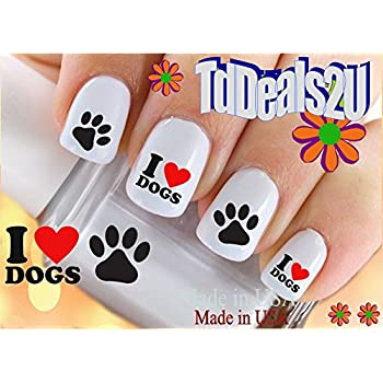 Amazon Dog Breeds I Love Dogs Paw Print Nail Decals