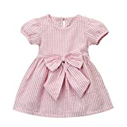 Cenhope Infant Baby Girls Striped Bowknot Short Sleeve Princess Dress (Pink, 1-2 Years)