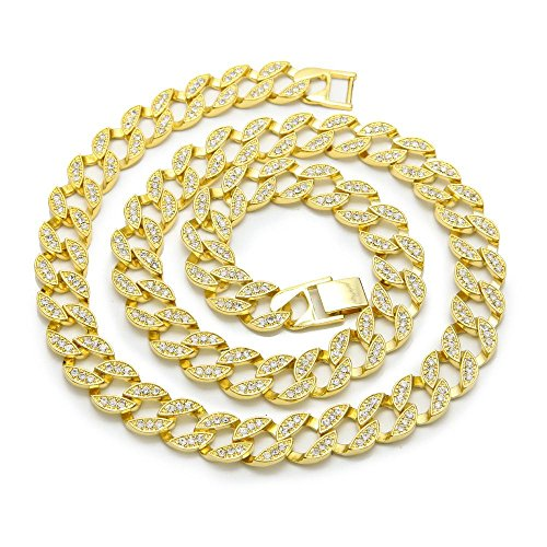 Bling Bling NY Fully Iced Out Miami Cuban Link CZ Choker Necklace/Bracelet Gold Finish Lab Created Diamonds 15MM (8.5-30 inches) (Chain 16'')
