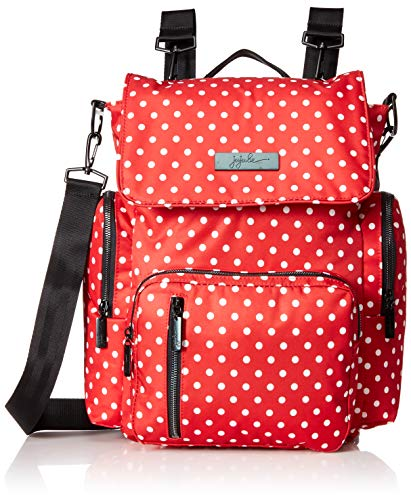 JuJuBe Be Sporty Backpack/Diaper Bag, Onyx Collection - Black Ruby - Red/White Polka Dots