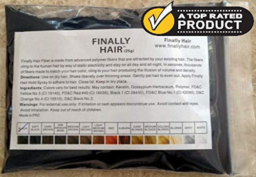 Hair Building Fibers Black 25 Grams Refill Your Existing Bottle. Highest Grade Fiber By Finally Hair (Black)