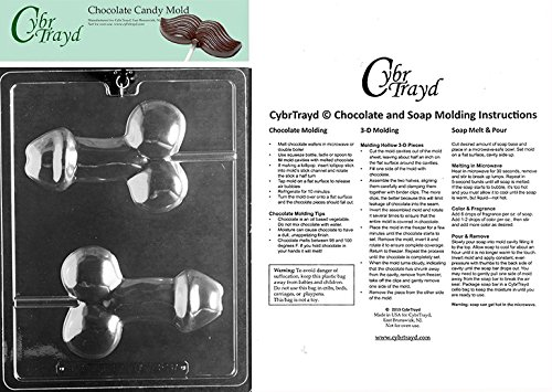 Clear CybrTrayd XX557 Medium Pecker Pop Chocolate Candy Mold with Molding Instructions