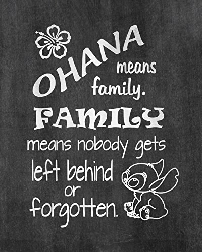 Ohana Means Family - Inspired by Lilo and Stitch - Chalkboard Background Poster Print