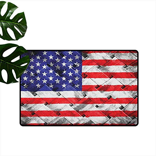 (RenteriaDecor USA,Doormats Fourth of July Independence Day Thatch Rattan Rippled Weave Bamboo Graphic Art 36
