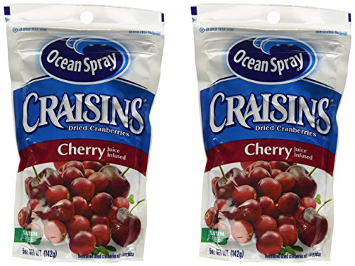 - Ocean Spray Craisins Dried Canberries Cherry Juice Infused 5oz Bag, 2-bags
