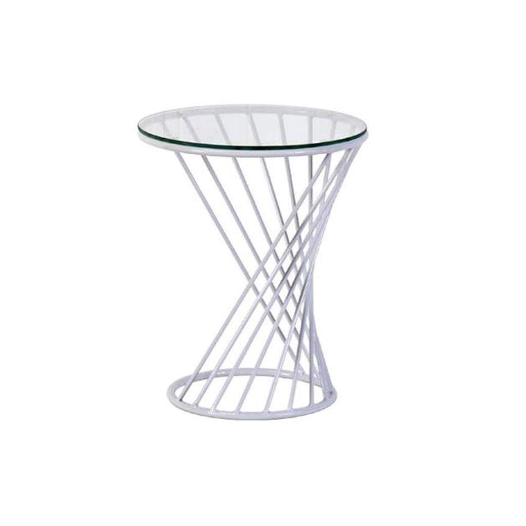 Kitchen Dining Coffee Modern Small Wire Side Table Metal Coffee End Side Table with, Living Room Table Garden Leisure Table Reading Table Pedestal Tables (Color : White)