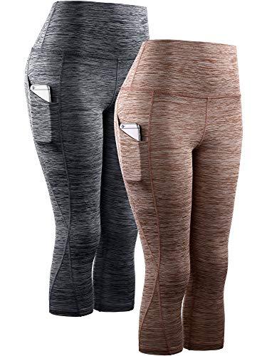 Neleus Women's 2 Pack Tummy Control High Waist Yoga Capri Leggings with Pockets,9034,Black,Brown,L,EU XL