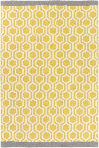 Wool Rug, Yellow/Gray Geometric Honeycomb Hand-Made Carpet,