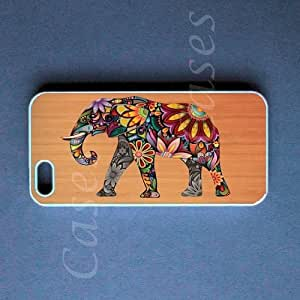 Iphone 5 Cover Colorful Elephant on Wood Design Case, Cute Best Unique Protec...