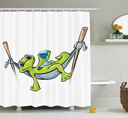 Prince Collection Frog (Ambesonne Reptile Decor Collection, Bohemian Frog Prince on Hammock with Wine Little Mascot Relax Peace in Garden Home, Polyester Fabric Bathroom Shower Curtain Set with Hooks, Green Blue Gray)