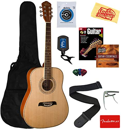 Oscar Schmidt OG1LH-A-U Lefty 3/4 Size Dreadnought Acoustic Guitar – Natural Bundle with Gig Bag, Strings, Tuner, Strap, Picks, Instructional Book, DVD, Capo, and Austin Bazaar Polishing Cloth