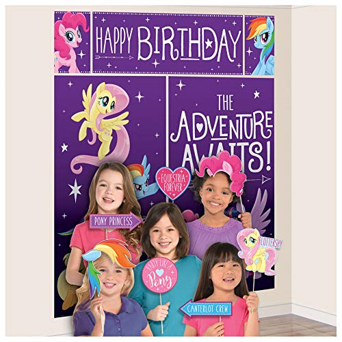 Amscan My Little Pony Friendship Adventures Scene Setters Wall Decorating Kit w/Props -