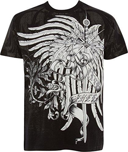 - Sakkas T784 - Kellan Mystic Eagle and Celtic Cross Graphic Mens T-Shirt - Black - M
