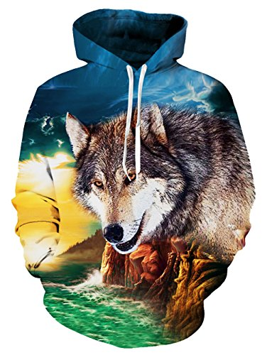 (RAISEVERN 3d Cool Wolf Design Pullover Hoodie Sweatshirt for Women Men Hipster, Wolf, X-Large)