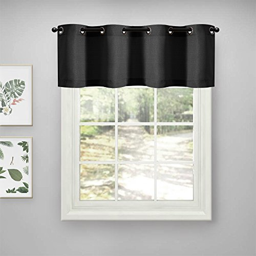 Lazzzy Valance Semi Sheer Curtain Panels for Bedroom Thick Sheer Curtains Privacy Casual Weave Textured Window Treatment 1 Pc, Black, L18 inches (Black Grommet Valance)