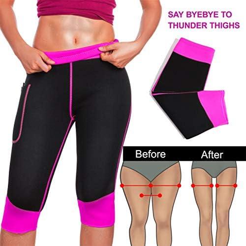 Women Weight Loss Hot Neoprene Sauna Sweat Pants with Side Pocket Workout Thighs Slimming Capris Leggings Body Shaper 4