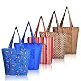 Premium Quality 5-Pcs Insulated Lunch Grocery Bag Set by Sava – Fashionable Reusable Cooler Snack Shopping Tote Bags – Foldable & Portable W/Flat Bottom, FDA-Grade Insulation Lining & Zipper
