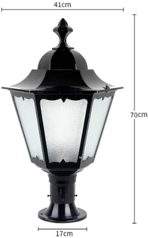 Xungzl Traditional Victoria IP44 Waterproof Landscape Column Lamp European Black Post Pillar Light Antirust Die-cast Aluminum Metal Villa Door Post Outdoor Table Lamp Exterior Wall Lamp 51CO8CmgaNLSL1000_